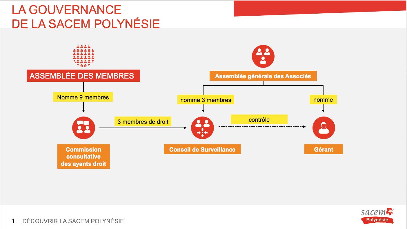 Le schéma 1 de la gouvernance de la Sacem Polynésie